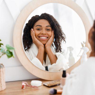 Self-care.,Beautiful,African,American,Woman,In,Bathrobe,Ready,To,Apply